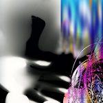 Ammar Bouras. Les 1001 nuits, autrement dit... La nuit 1002, 70x105 cm, TM sur toile, 2006
