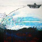 Ammar Bouras. Les 1001 nuits, autrement dit... Transite_chahrazed, 120x120 cm, TM sur bois, 2006