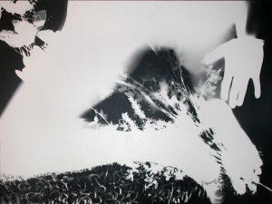 Scribe 4. 50x65cm, T.M. Photogramme sur papier photo N&B, laminé sur bois