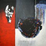 Ammar Bouras. Les 1001 nuits, autrement dit... cyberchahrazed1, 124x126 cm, TM sur toile, 2006