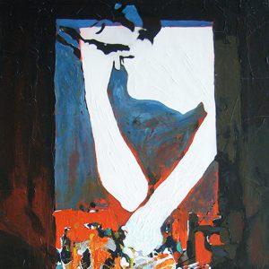 fenêtre_connecte, (âachak attaka), 60x110 cm, T.M. sur bois, 2006