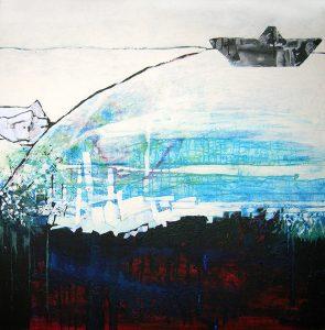 Transite_chahrazed, 120x120 cm, TM sur bois, 2006